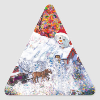 Everything happens during Christmas time Triangle Sticker
