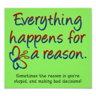 Everything Happens For a Reason Funny Poster Sign