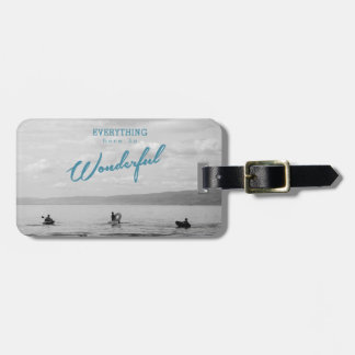 Everything Here Is Wonderful luggage tag of lake