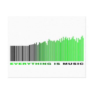 Everything is music barcode green equalizer text canvas print
