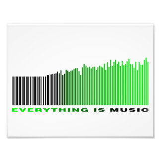 Everything is music barcode green equalizer text photo print