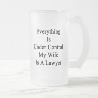 Everything Is Under Control My Wife Is A Lawyer 16 Oz Frosted Glass Beer Mug