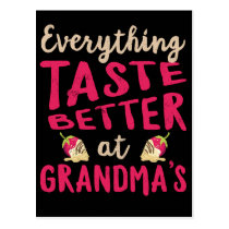 Everything Tastes Better at Grandma's Mothers Day Postcard