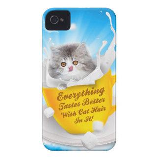 Everything Tastes Better With Cat Hair In It Kitty Case-Mate iPhone 4 Cases