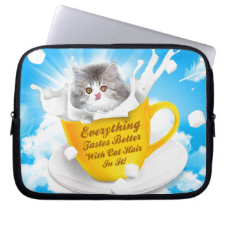 Everything Tastes Better With Cat Hair In It Kitty Laptop Sleeve