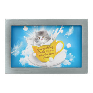 Everything Tastes Better With Cat Hair In It Kitty Rectangular Belt Buckle
