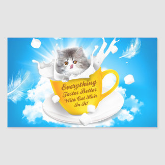 Everything Tastes Better With Cat Hair In It Kitty Rectangular Sticker