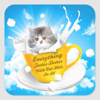 Everything Tastes Better With Cat Hair In It Kitty Square Sticker