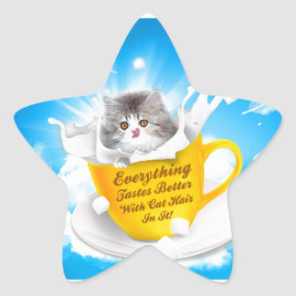 Everything Tastes Better With Cat Hair In It Kitty Star Sticker