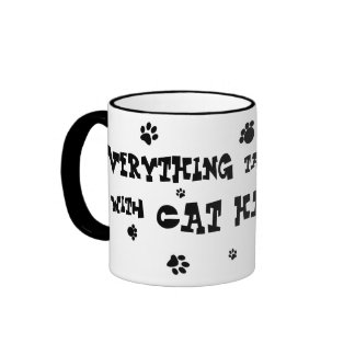 everything tastes better with cat hair mug! ringer coffee mug
