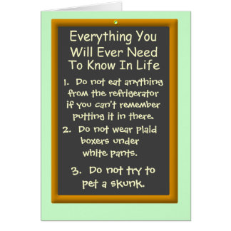 Everything You Will Ever Need To Know In Life Cards