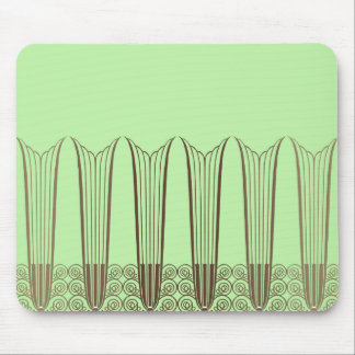 EVE'S BALCONY, Art Deco Ironwork in Green & Brown Mouse Pad