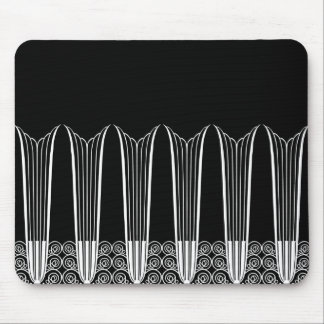 EVE'S BALCONY, Art Deco Ironwork in White on Black Mouse Pad
