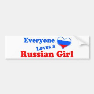 Eveyone ama a un chica ruso pegatina para auto