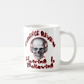 evidence review, gmps skull wings logo coffee mug