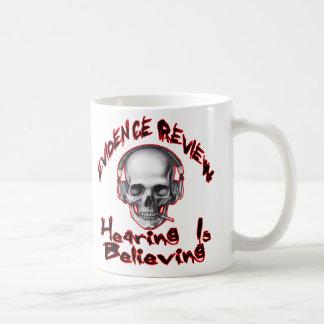 evidence review, gmps skull wings logo coffee mug