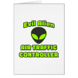 Evil Alien Air Traffic Controller Greeting Cards