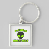 Evil Alien Architect Silver-Colored Square Keychain