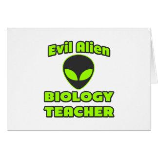 Evil Alien Biology Teacher Greeting Card