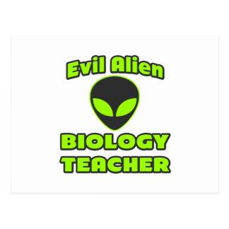 Evil Alien Biology Teacher Postcard