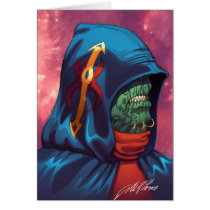 alien, aliens, al rio, evil, invaders, space, ugly, stars, abduction, hoodie, blue, red, green, gold, art, illustration, Card with custom graphic design