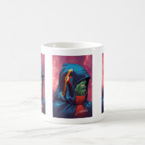 alien, aliens, al rio, evil, invaders, space, ugly, stars, abduction, hoodie, blue, red, green, gold, art, illustration, Mug with custom graphic design