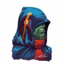 alien, aliens, al rio, evil, invaders, space, ugly, stars, abduction, hoodie, blue, red, green, gold, art, illustration, Photo Sculpture with custom graphic design