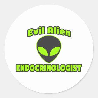 Evil Alien Endocrinologist Classic Round Sticker