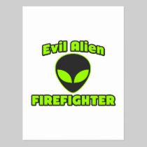Evil Alien Firefighter Postcard