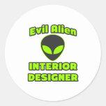 Evil Alien Interior Designer Round Stickers