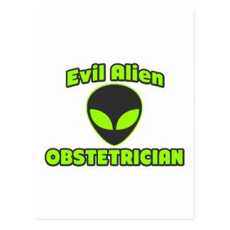 Evil Alien Obstetrician Postcard