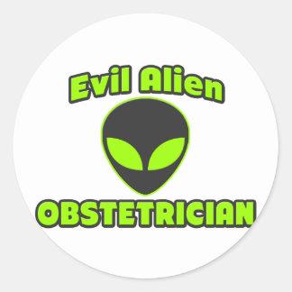 Evil Alien Obstetrician Round Sticker