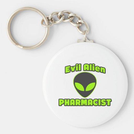 Evil Alien Pharmacist Basic Round Button Keychain