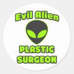 Evil Alien Plastic Surgeon Round Sticker
