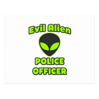 Evil Alien Police Officer Postcard