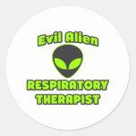 Evil Alien Respiratory Therapist Round Stickers