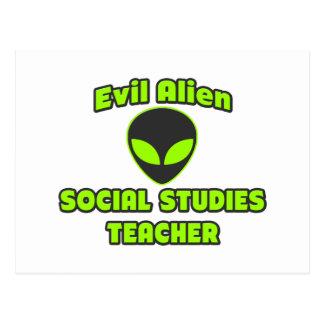 Evil Alien Social Studies Teacher Postcard