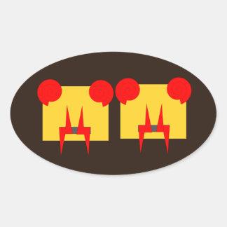 Evil alien vampire oval sticker