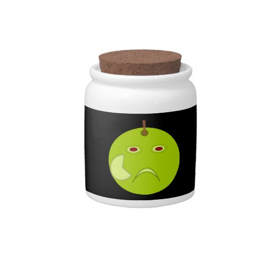 Evil Apple with Scar Halloween Candy Jar