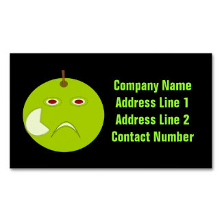 Evil Apple with Scar Halloween Personalized Business Card Magnet