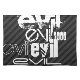 Evil; Black & Dark Gray Stripes Cloth Placemat