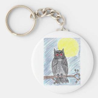 Evil Black Owl Basic Round Button Keychain