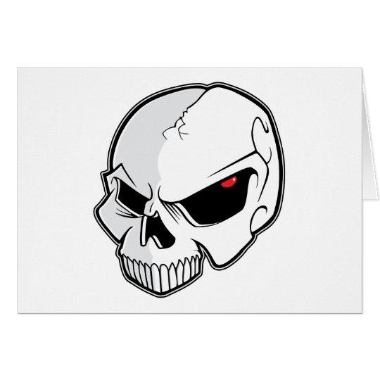Evil Blood Red Eyeballs Skull Card