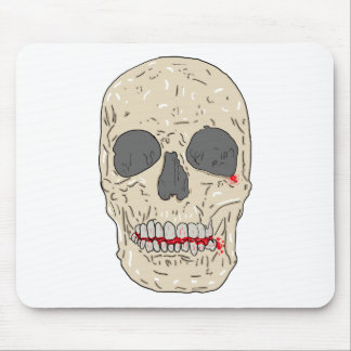 Evil, bloody and ravaged skull mouse pad