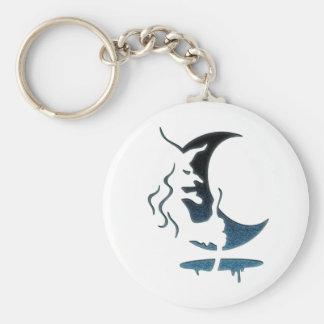 Evil Brewing Witch -Black/Blue Spot Premium Design Basic Round Button Keychain