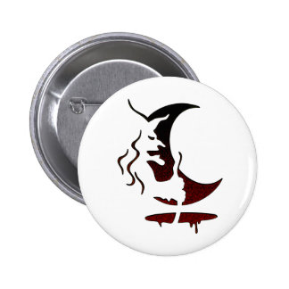 Evil Brewing Witch - Black Red Spot Premium Design Pinback Button