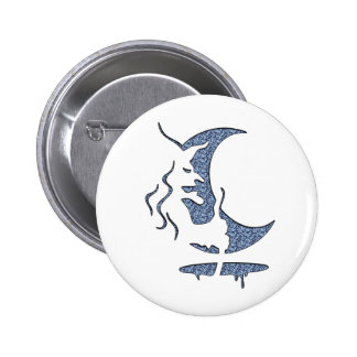 Evil Brewing Witch - Blue Dotted Inversion Design Pinback Button
