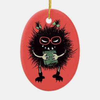 Evil Bug Book Lover Geek Halloween Ceramic Ornament