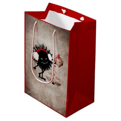 Evil Bug Gives Christmas Present Small Gift Bag