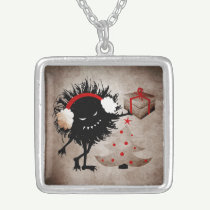 Evil Bug Gives Christmas Present Square Pendant Necklace